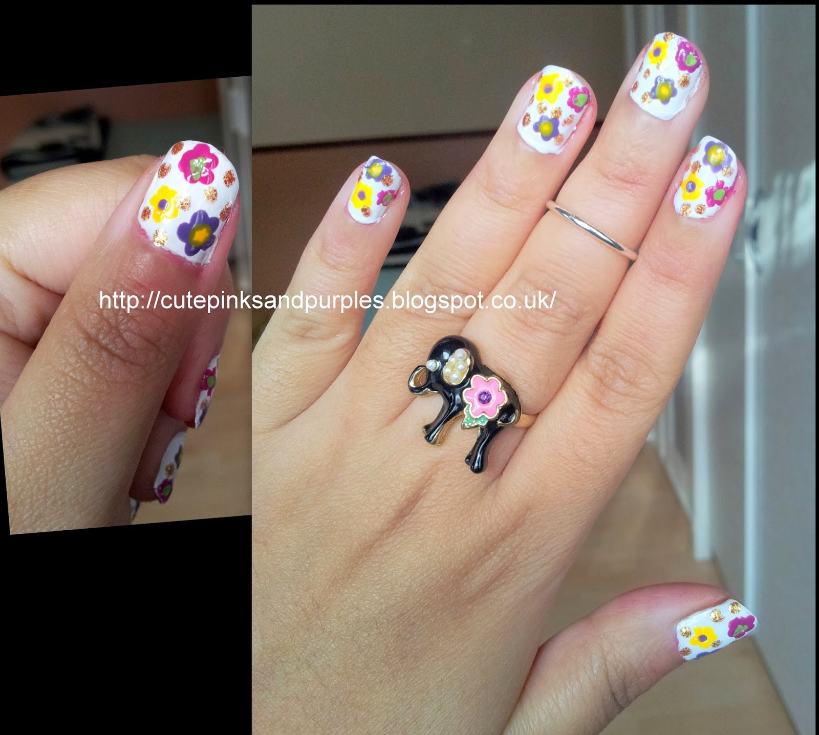 Simple flower nail art for beginners !!