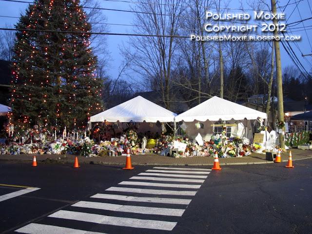 Image of Sandy Hook Elementary School memorials.