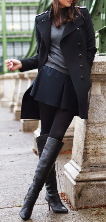 Black coat,boot