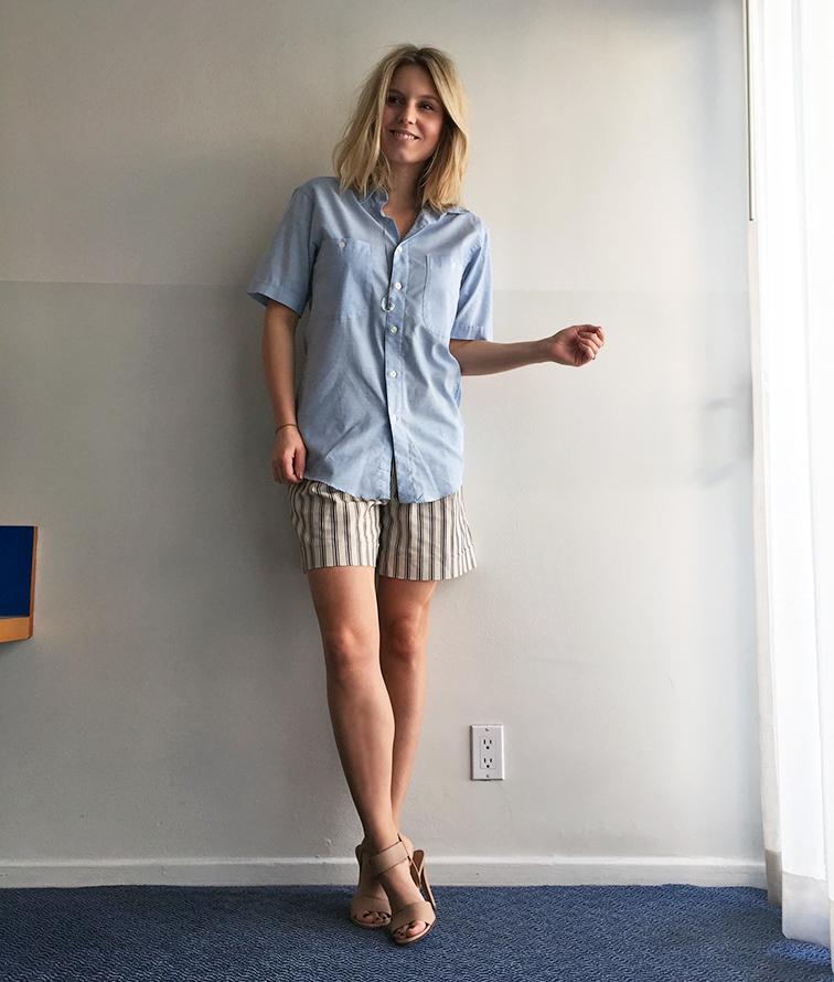 YSL men's shirt, Ann Taylor shorts, Vince heels