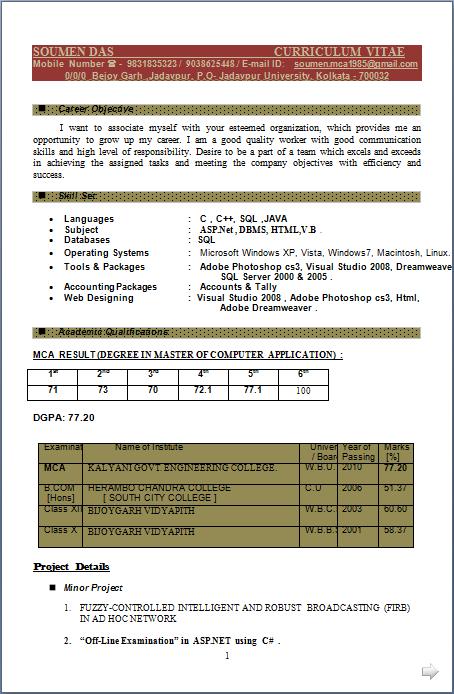 resume asp net