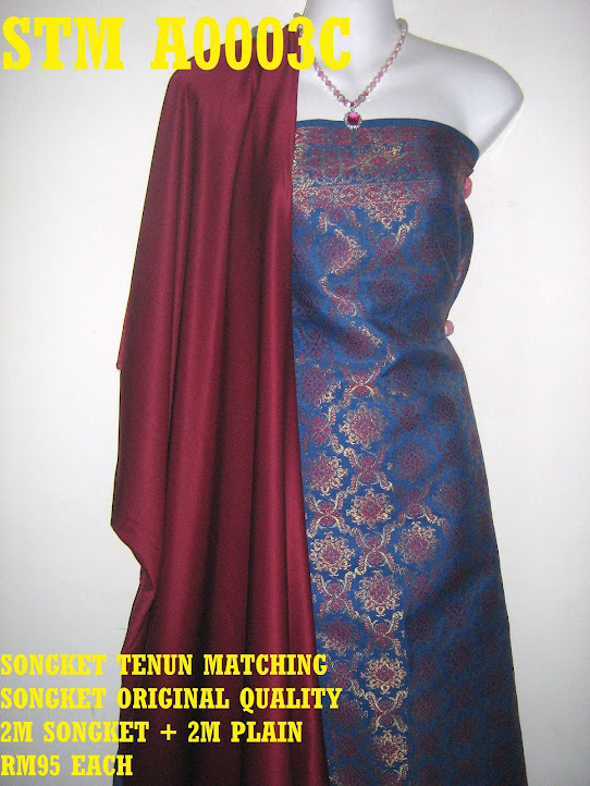 STM A0003C: SONGKET TENUN MATCHING, HIGH QUALITY, 2M SONGKET + 2M PLAIN