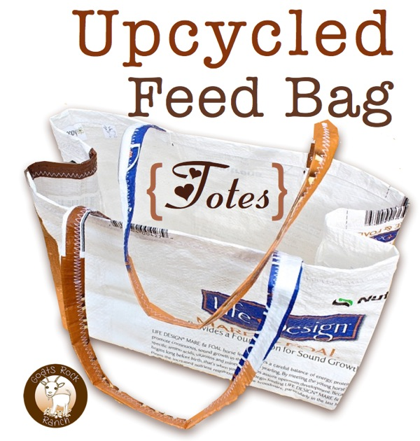 Upcycled Totes from Feed Bags featured at I Gotta Create!