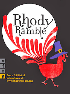 Rhody the Rambler in a pilgrim hat
