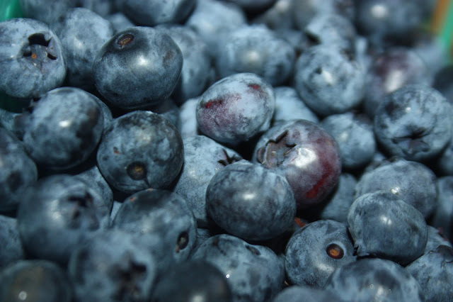 Close shot of ripe blueberries