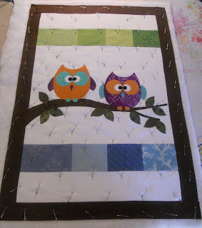 Here I used rawedge applique and a straight stitch with my darning  Owl Quilt Patterns Baby