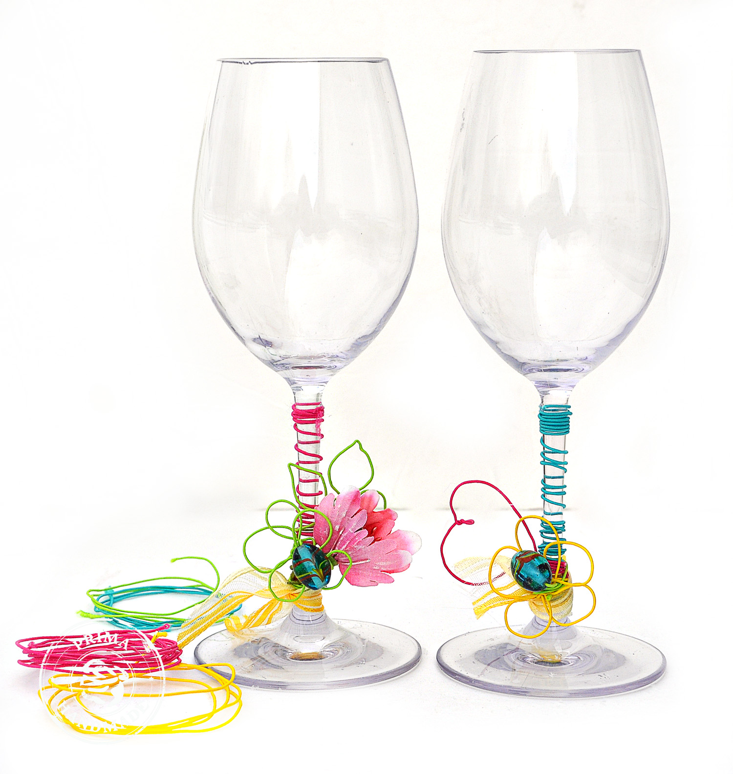 Scrap Escape Prima Wire Thread Fun Wine Glasses
