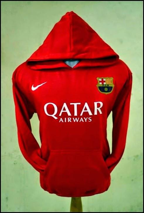 Jumper Hoodie Bola Polos (Satu Warna) - Barcelona Merah