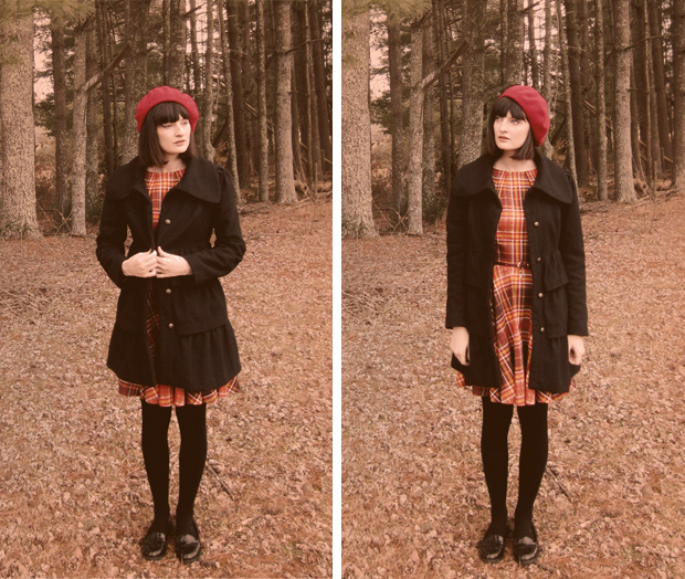 Luck be a Lady dress with black coat and loafers