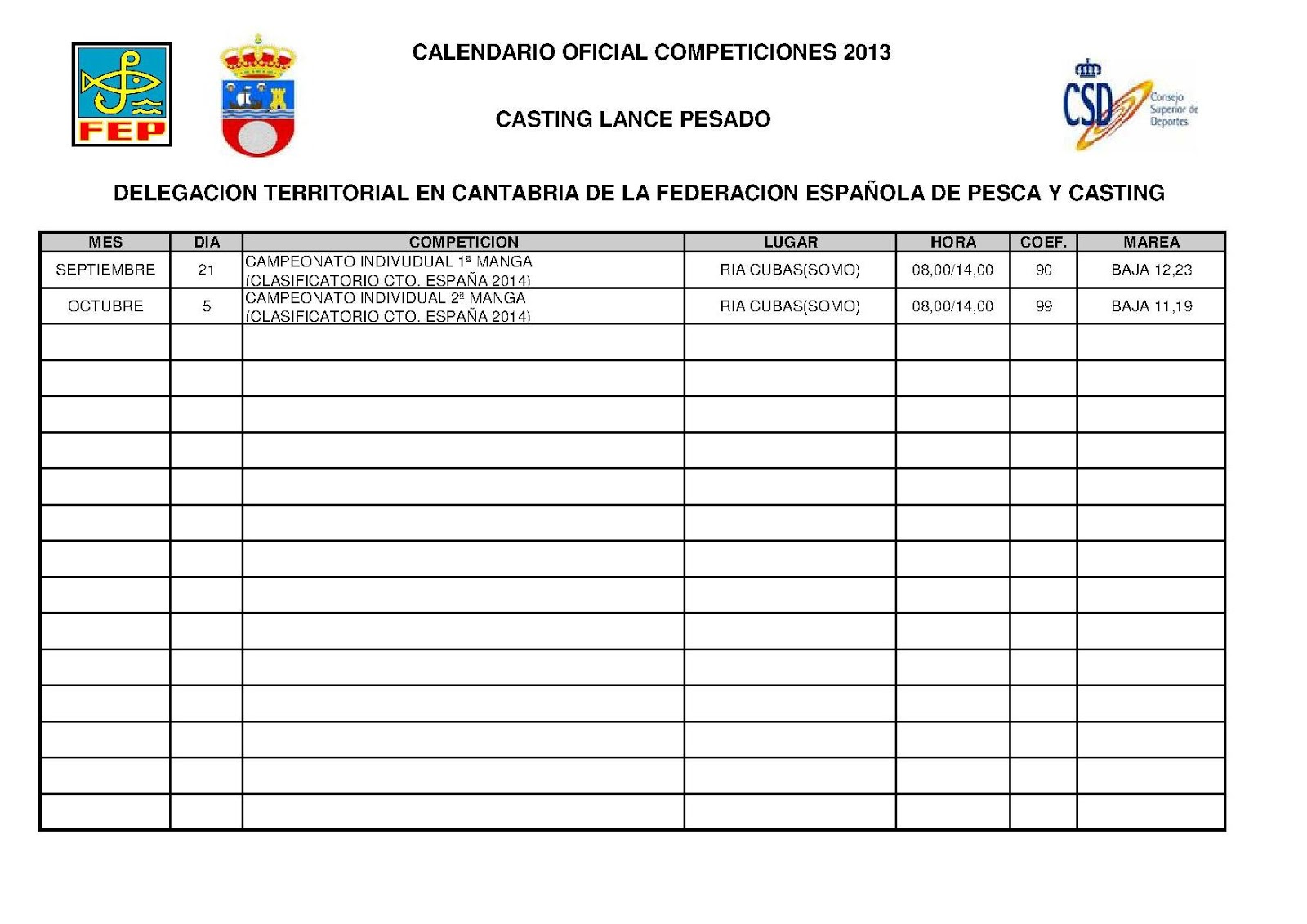 Delegacion Territorial en Cantabria: CALENDARIO LANCE PESADO