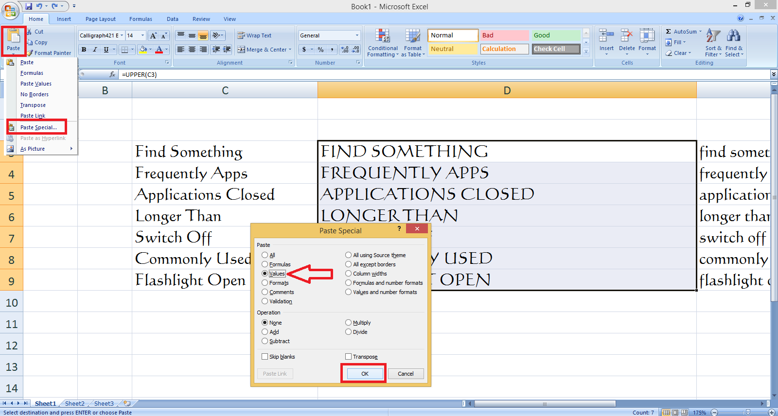 How to Change Small letter to Capital letter in MS Excel (Upper Case/Lower Case)