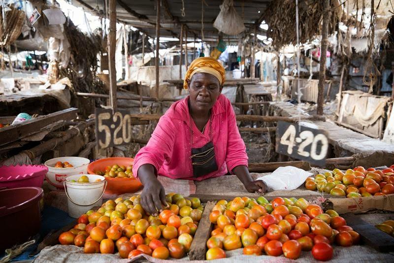 Jessica Mzinza, a tomato trader in Kibera's Toi Market, in Nairobi