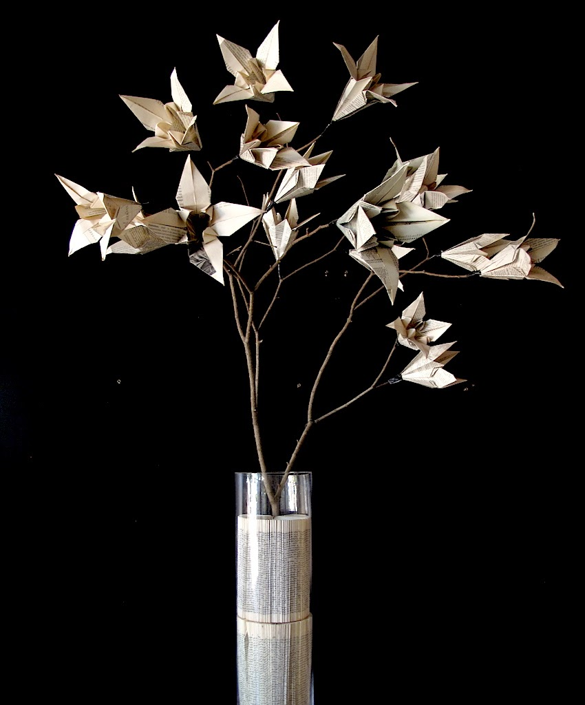 Origami Flower Branch by Keri Muller - folded from salvaged book pages.  www.simlpleintrigue.com