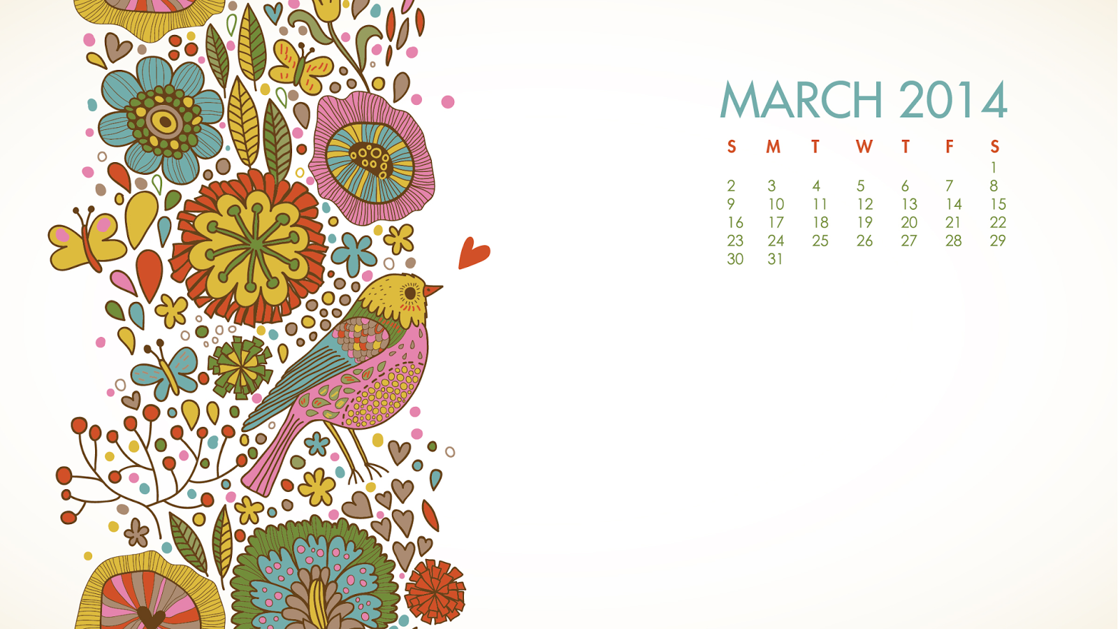 FREE MARCH 2014 DESKTOP CALENDARS