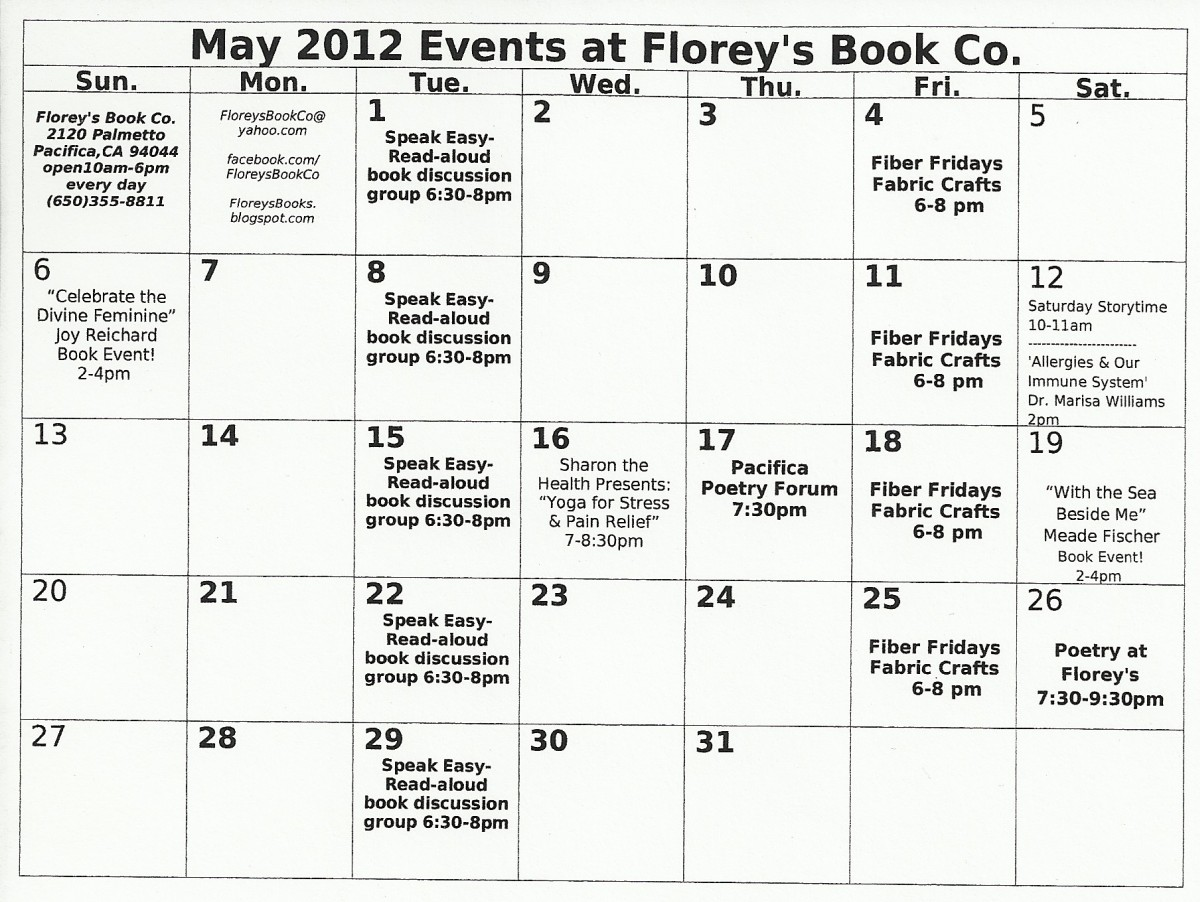 May Calendar With Events : Florey s book co may calendar of events at
