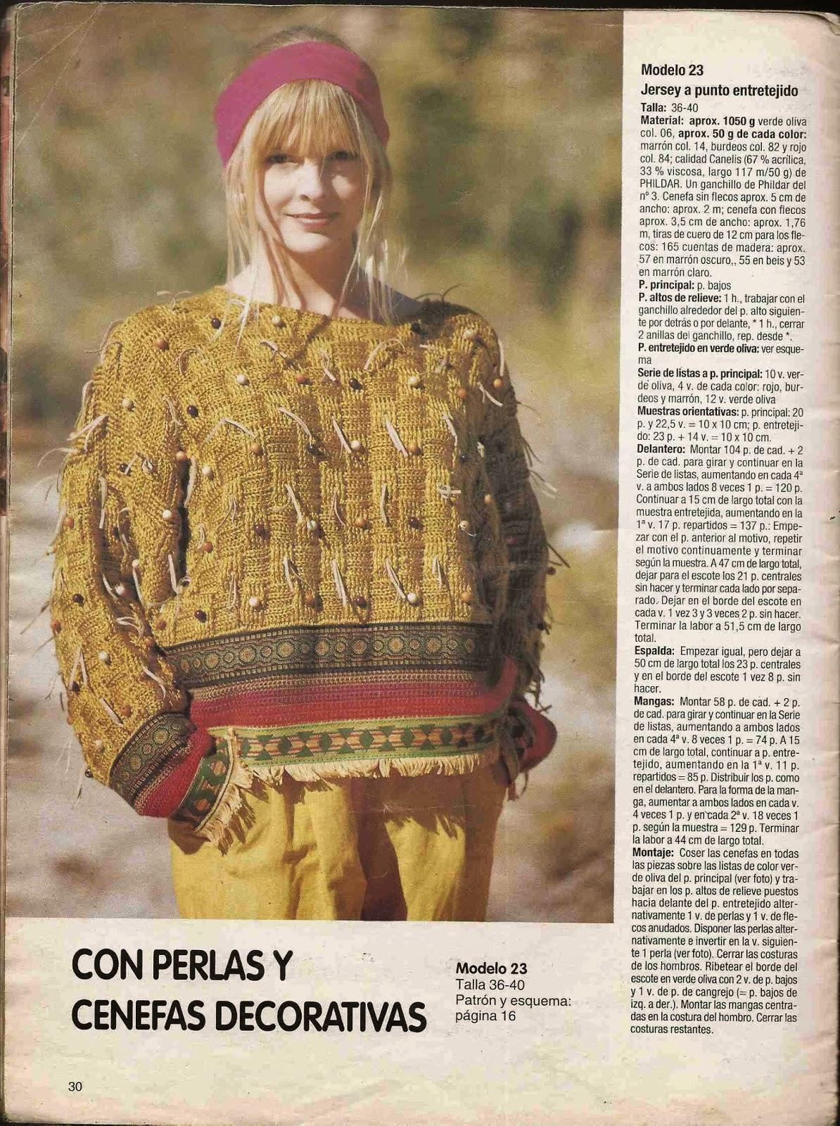 #116 Jersey con Punto Entretejido a Crochet o Ganchillo