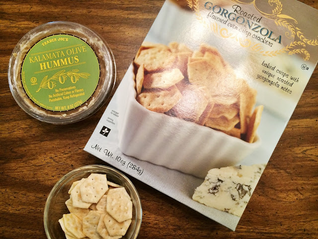 Roasted Gorgonzola crackers with hummus from Trader Joe's