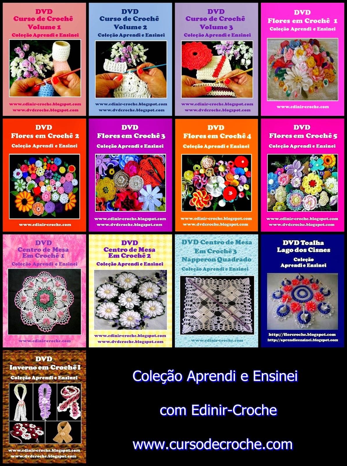 Aprender Croche DVD de croche Coleção 14 volmes com Edinir-Croche em loja frete gratis