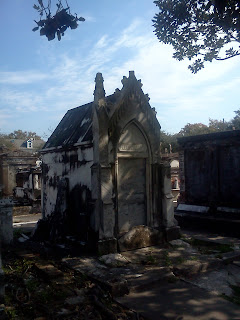 An above-ground grave, called a mausoleum, in Lafayette Cemetery No. 1.