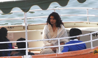 Deepika Padukone On the sets of Ram Leela shooting.