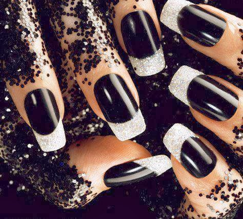Black and silver french manicure