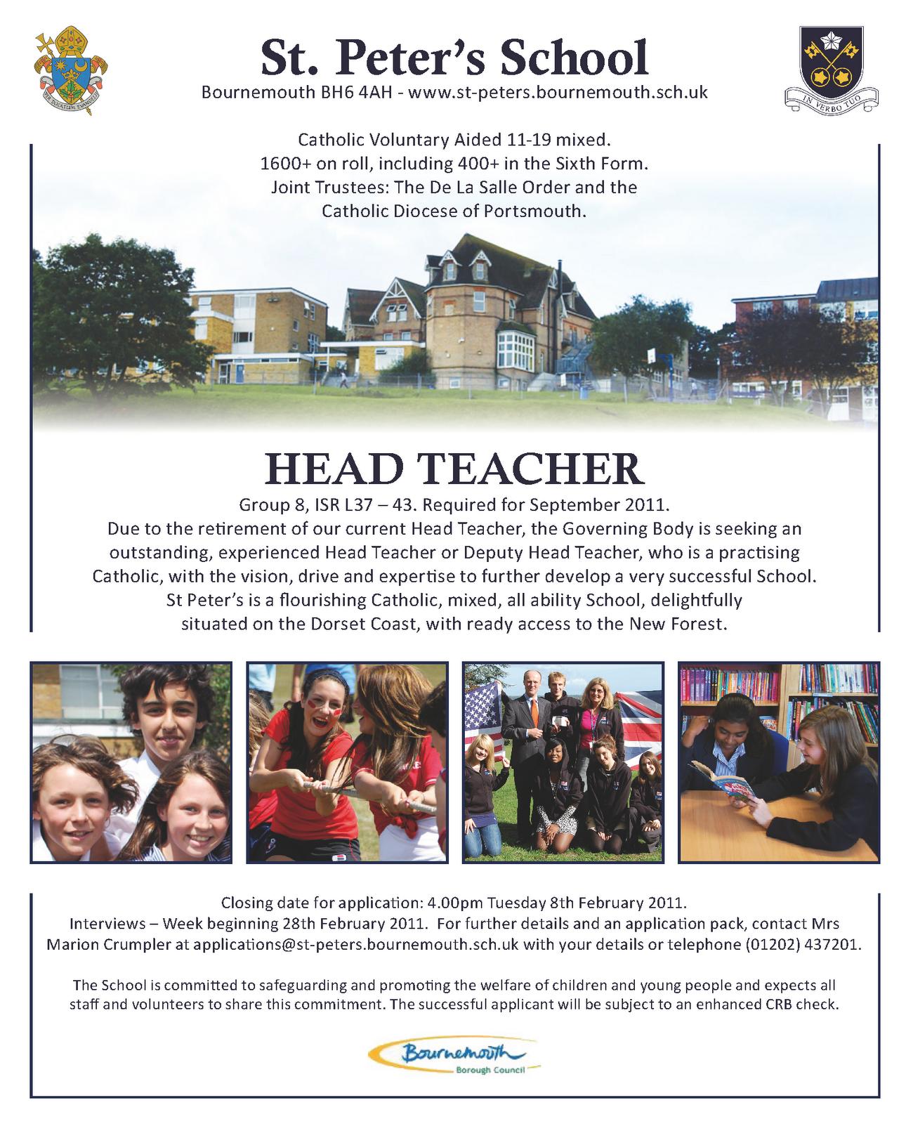 Designer in Residence - St Peter's School: Head Teacher's Job Advert