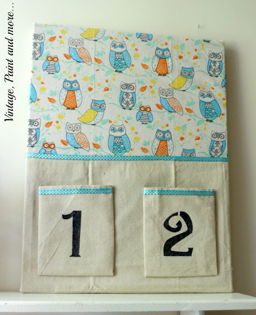 Vintage, Paint and more... DIY Dorm Decor - recycled bulletin board done with a tea towel, drop cloth fabric and stenciling