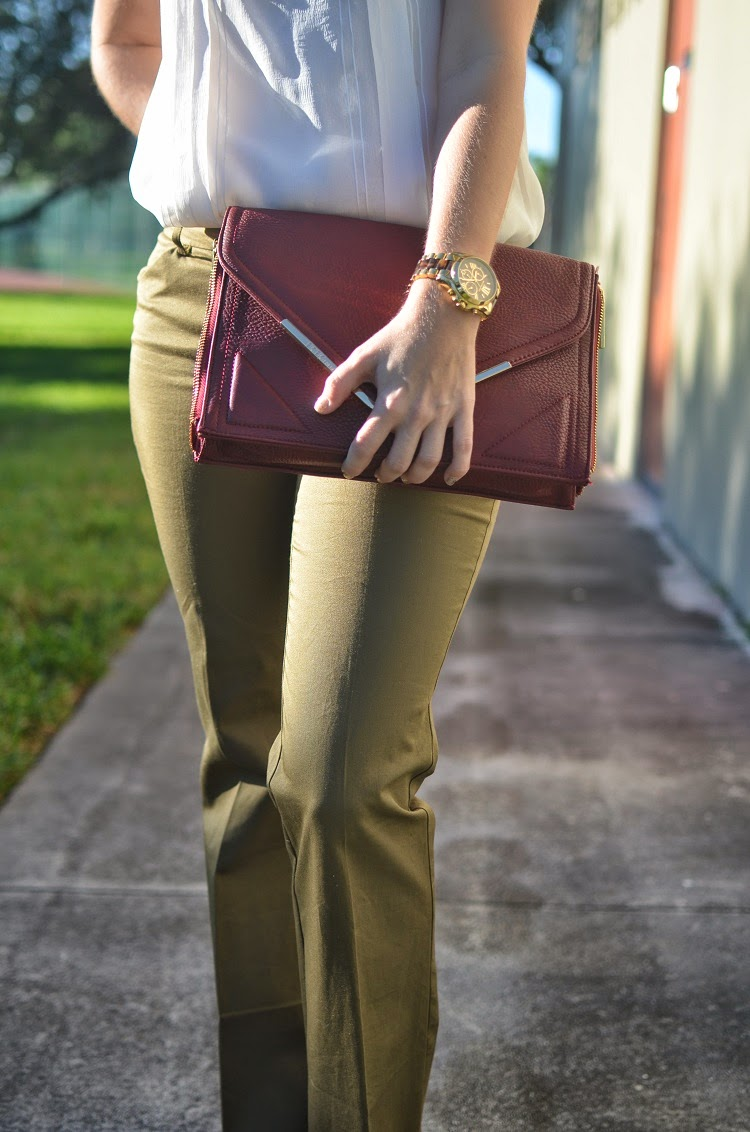 olive pants - cream top - burgundy bag - wedge shoes