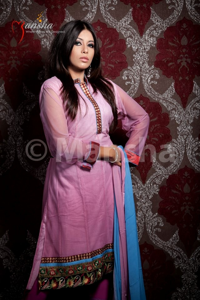 Latest Casual Salwar Kameez Designs 2012 By Mansha Party Wear