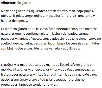 listado alimentos sin gluten