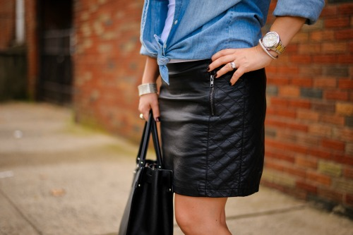 Forever 21 Black Faux Leather Skirt,  J. Crew Keeper Chambray Shirt, Schutz Blue Glitter Wedge Shoes, Salvatore Ferragamo Briana Large Tote, Michael Kors Mid-Size Silver Color Golden Stainless Steel Camille Chronograph Watch, Forever 21 Beaded Stretchy Metallic Bracelet, David Yurman Silver and Black Onyx Ring