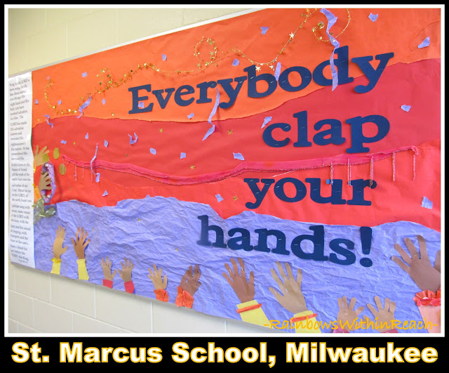 "photo of: ""Everybody Clap Your Hands"" Bulletin Board at St. Marcus School, Milwaukee"