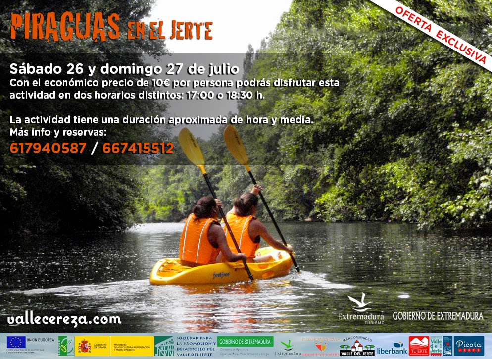 Piraguas en el río Jerte. Valle del Jerte
