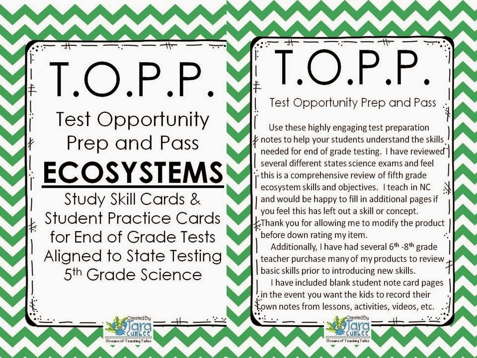 http://www.teacherspayteachers.com/Product/Ecosystems-TOPP-Test-Opportunity-Preparation-and-Pass-1086825