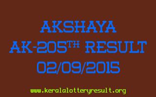 Akshaya AK 205 Lottery Result 2-9-2015