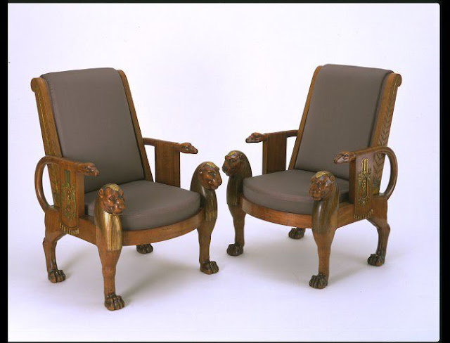 The Denon Chair, 1803-1813, Jacob-Desmalter, Mahogany, with ormolu (gilt-bronze) mounts; modern upholstery, Victoria  and Albert Museum. London, UK.