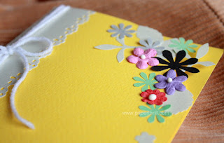 Summer flowers handmade wedding invitation card