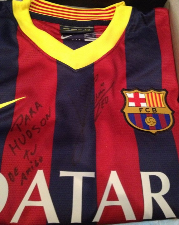 Hudson Sherwood has recieved an autographed Barcelona jersey from his idol Lionel Messi