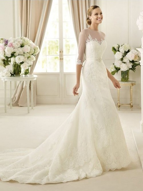 Bride in dream gorgeous sheath wedding dress adds a touch for Dresses suitable for a wedding