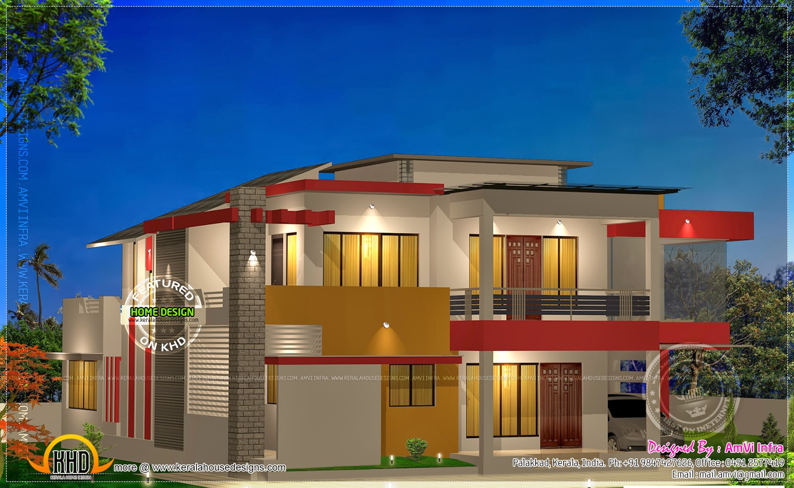 Modern 4 bhk house plan in 2800 kerala home for Modern square house plans