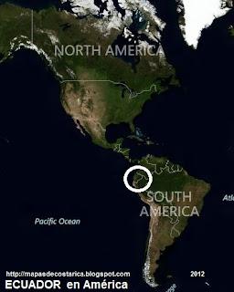 Ubicación de ECUADOR en América, vista aérea, BING