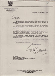 Carta de Felipe Benavides al presidente de la república Alan García Pérez.