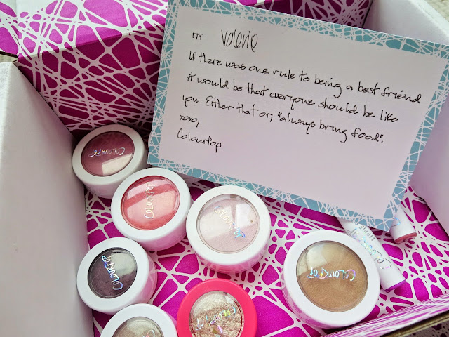 a picture of Colourpop Cosmetics box + note