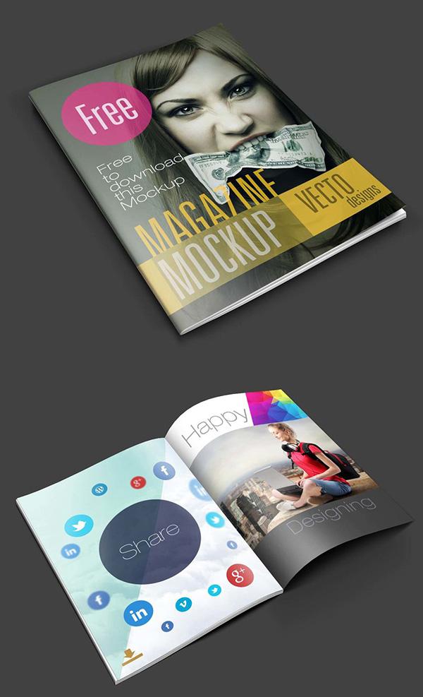 Download Gratis Mockup Majalah, Brosur, Buku, Cover - Magazine Mockups