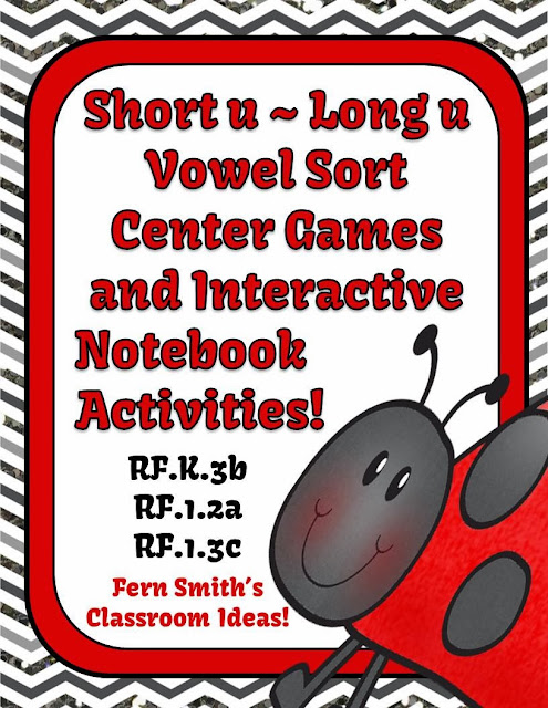 Fern's Freebie Friday ~ Vowel Sorting  Center Games for Short u & Long u including Interactive Notebook Activities at TeacherspayTeachers, TpT.