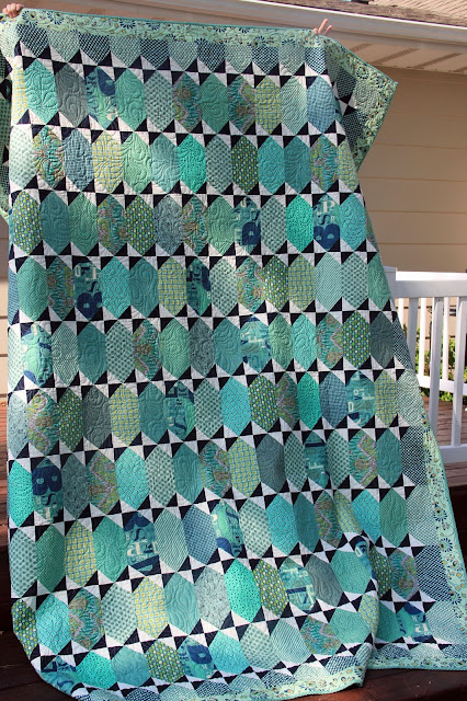 Tula Pink's Pancakes pattern in blues and seafoam.