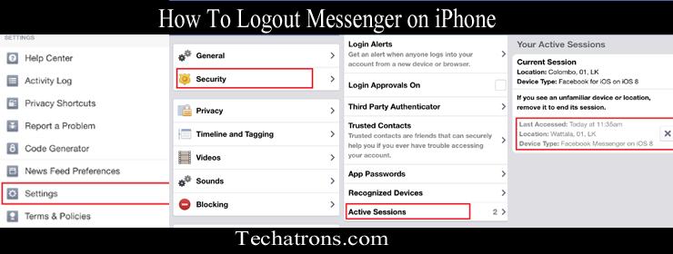 Bagaimana logout dari messenger iphone