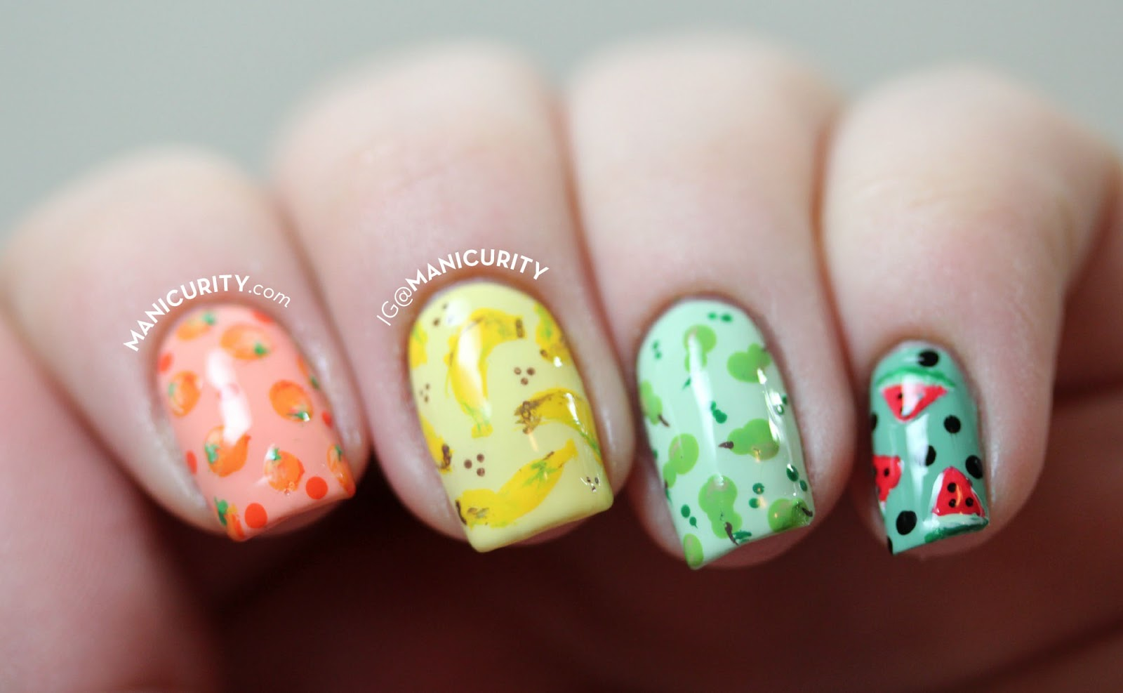 The Digit-al Dozen: Freehand Fruit Salad Skittle Set o' Nail Art - miniature fruit nails | Manicurity.com