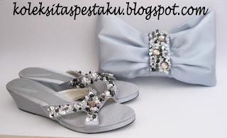 Paket Matching Tas Pesta dan Sandal Pesta Wedges Silver Elegant