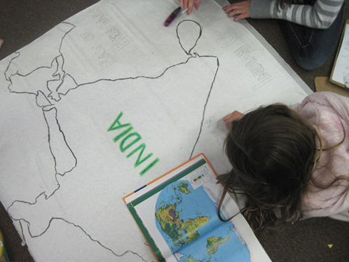 Students Draw Maps of India